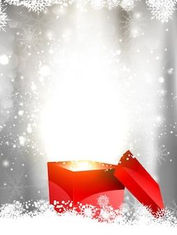 Brillante fondo navideño con caja de regalo