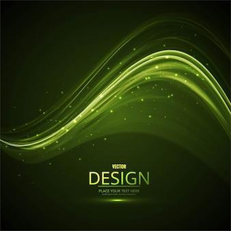 Brillante fondo ondulado verde con luces