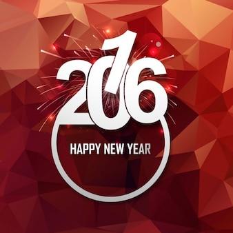 Brillante tarjeta de año nuevo 2016 con fuegos artificiales