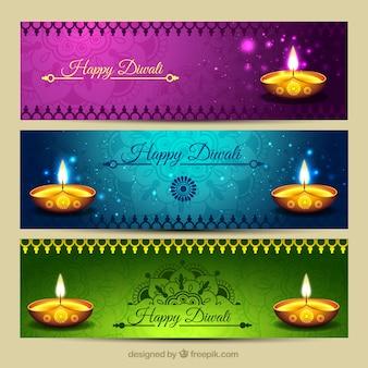 Brillantes banners de diwali