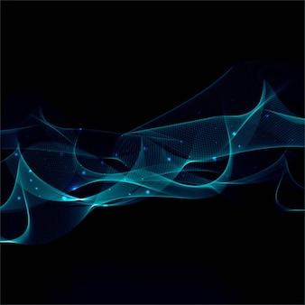 Brillantes líneas onduladas azules sobre un fondo negro