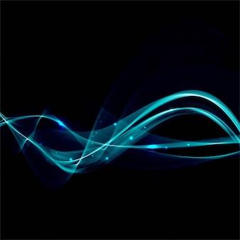 Brillantes líneas onduladas turquesas sobre un fondo negro