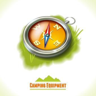 Brújula de símbolos de camping