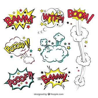 Burbujas de diálogo de cómic de explosiones