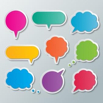 Burbujas de texto de colores