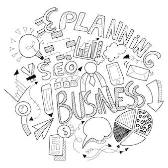 Business doodle, con signo de negocios en blanco y negro, símbolos e iconos.