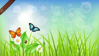 Buterflies en la ilustración de la hierba