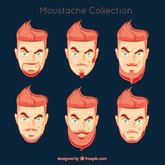 Cabeza de hombre con diferentes tipos de bigotes