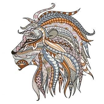 Cabeza de león colorida