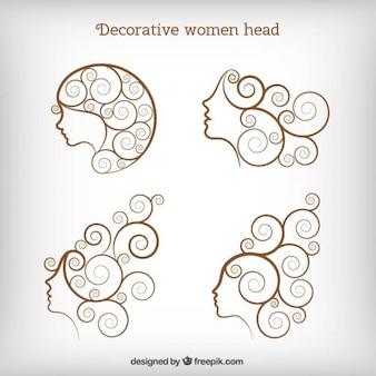 Cabeza decorativa de mujeres