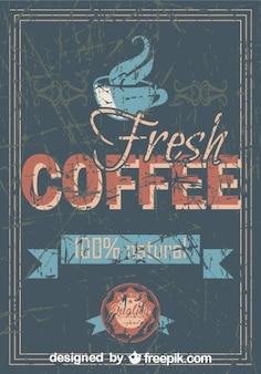 Café fresco de cosecha 100% natural en cartel grunge retro