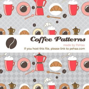 Café y croissants vector patrón