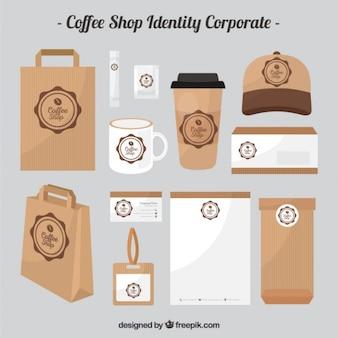 Cafetería de cartón de identidad corporativa