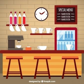 Cafetería en diseño plano