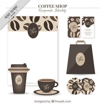 cafetería identidad corporativa con detalles de grano de café