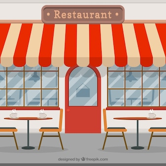 Cafetería vintage en estilo plano