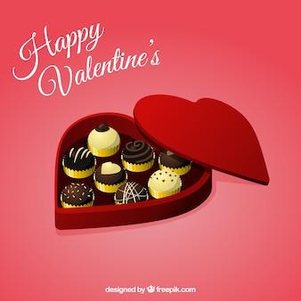Caja con forma de corazón con chocolates