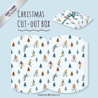 Caja de esquiador de navidad