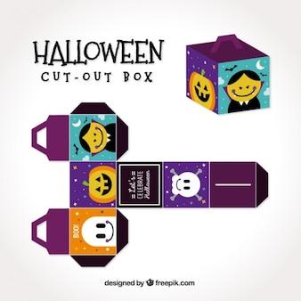 Caja de halloween bonita con personajes espeluznantes