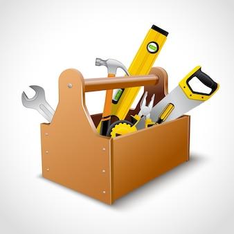 Caja de herramientas del carpintero impresiones