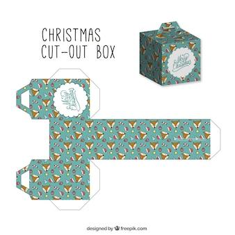 Caja de navidad recortable con lindos zorros