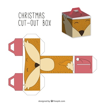 Caja de zorro navideño recortable