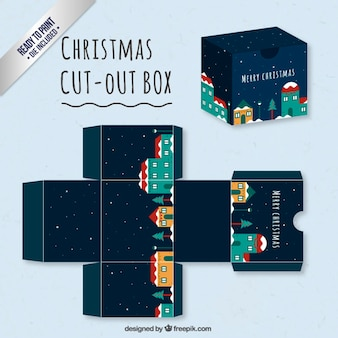 Caja linda con un pueblo navideño