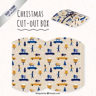 Caja navideña con árboles de navidad y coches