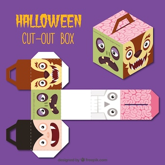 Caja recortable con personajes de halloween