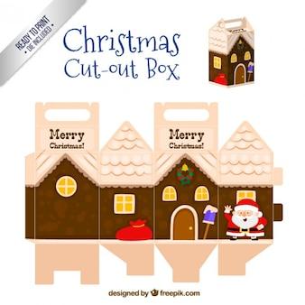 Caja recortable de navidad en estilo casa