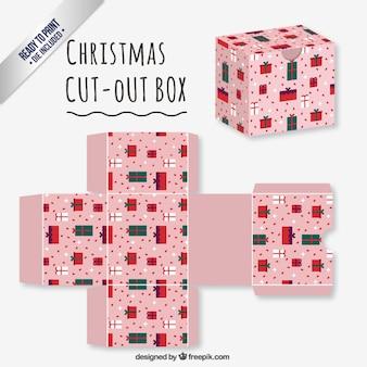 Caja recortable rosa de navidad