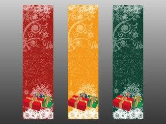 Cajas de regalo de Navidad banners florales