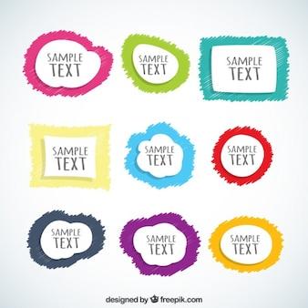 Cajas de texto de colores dibujadas a mano