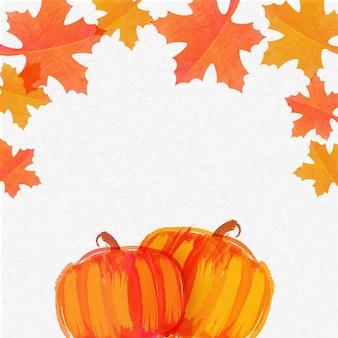 Calabazas dibujadas mano con hojas de otoño para el Día de Acción de Gracias.
