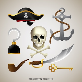 Calavera con elementos de piratas