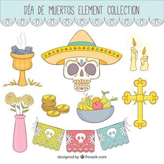 Calavera con un sombrero mexicano y otros elementos