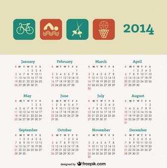 Calendario 2014 de diseño de concepto de deporte