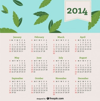 Calendario 2014 de hojas cayendo en cielo azul