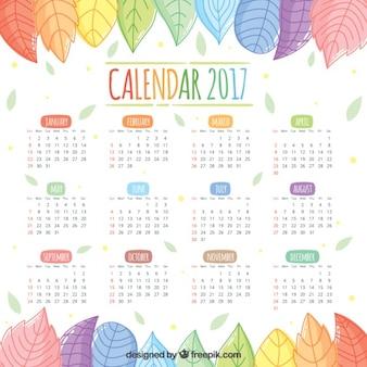 Calendario 2017 de bonitas hojas de colores dibujadas a mano
