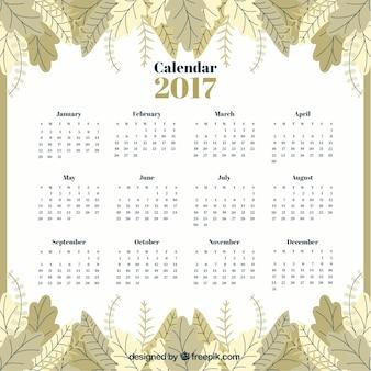 Calendario 2017 de hojas en estilo vintage