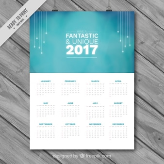 Calendario 2017 elegante de color azul