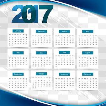 Calendario 2017 ondulado azul