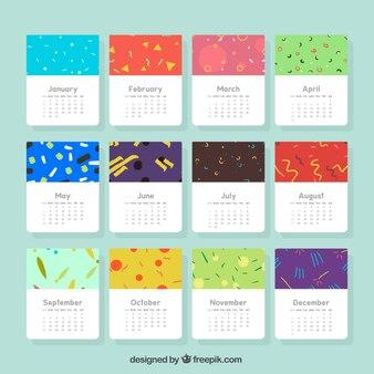 Calendario artístico de 2017 con formas en estilo memphis