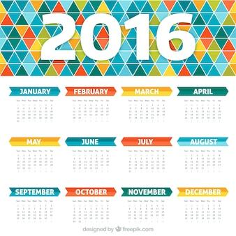 Calendario colorido con diseño geométrico