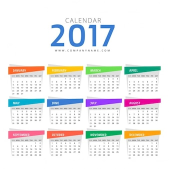 Calendario con diferentes colores