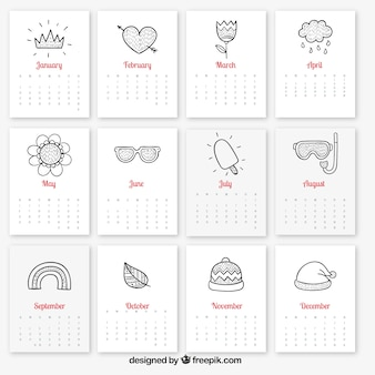 Calendario con elementos estacionales esbozados
