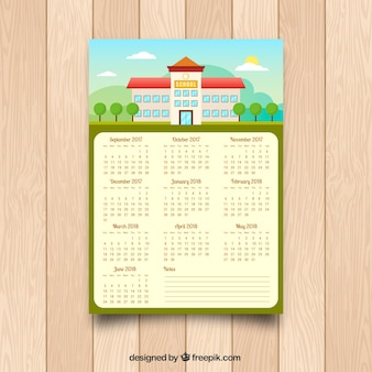 Calendario con fachada de colegio en diseño plano