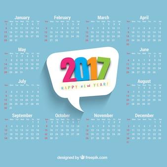 Calendario con globo de diálogo de 2017 de colores
