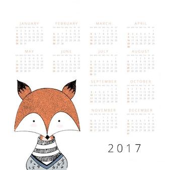 Calendario con un zorro dibujado a mano