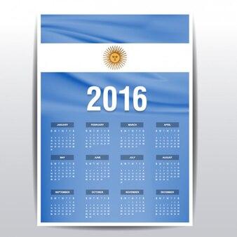 Calendario de 2016 de bandera de Argentina